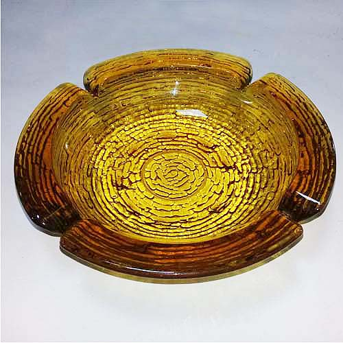 70s glass ashtray amber soreno-the remix vintage fashion