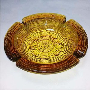 70s glass ashtray amber soreno-the remix vintage fashion