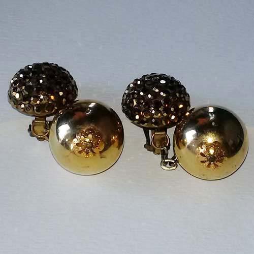 gold ball dangle disco earrings-the remix vintage fashion