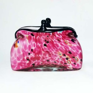 murano art glass purse vase pink-the remix vintage fashion