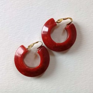 bakelite cherry red earrings art deco-the remix vintage fashion