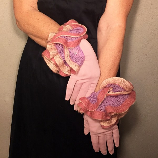 formal day gloves pink ruffles-the remix vintage fashion