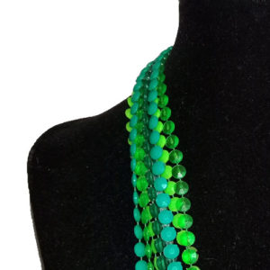 mod bead necklace bright plastic discs long multi strand-the remix vintage fashion