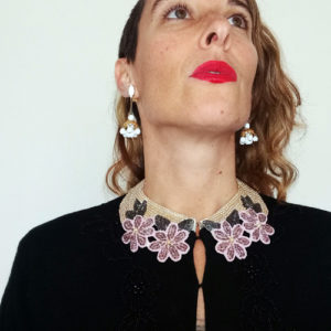pearl collar necklace japan flower beads-the remix vintage fashion