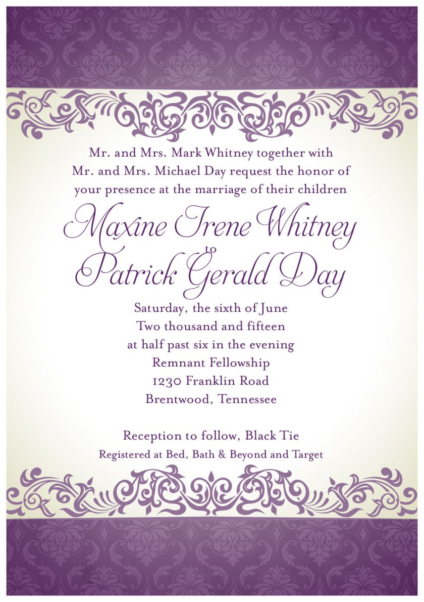 Day Whitney Wedding Invitation