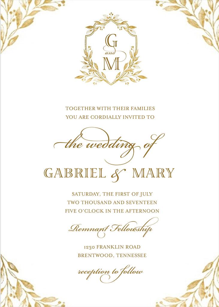 Mary Gormsen And Gabe Hamilton Wedding Invitation