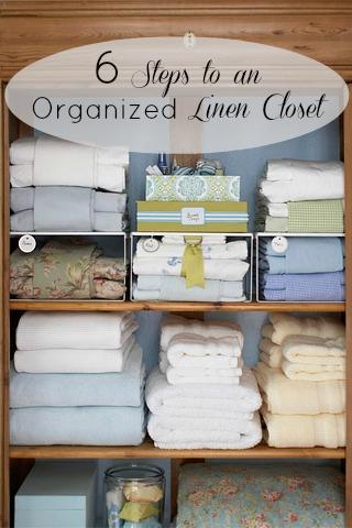 6 Steps to an Organized Linen Closet   Tipsaholic.com #home #organization #closet
