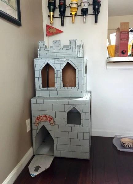 cat cardboard castle