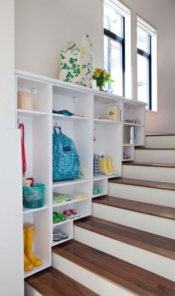 over stairs mudroom