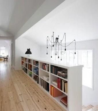 shelves on half wall