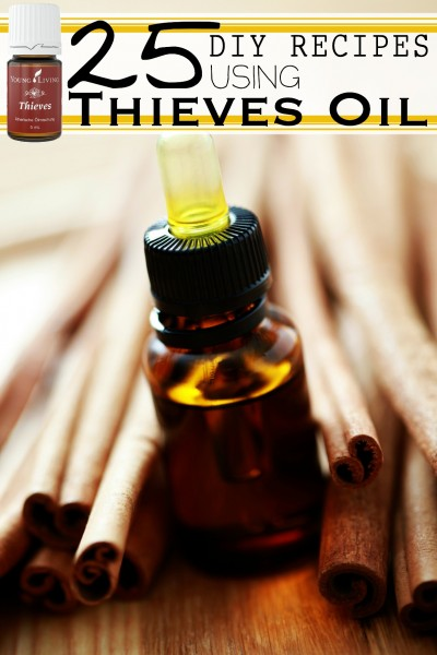 Thieves Essential Oil Blend is handy. There are a myriad of ways you can use Thieves oil, and many different products you can make to use. 25 DIY Recipes Using Thieves Essential Oil via @tipsaholic #oils #EO #essentialoils #thieves #oilrecipes #youngliving #younglivingessentialoils