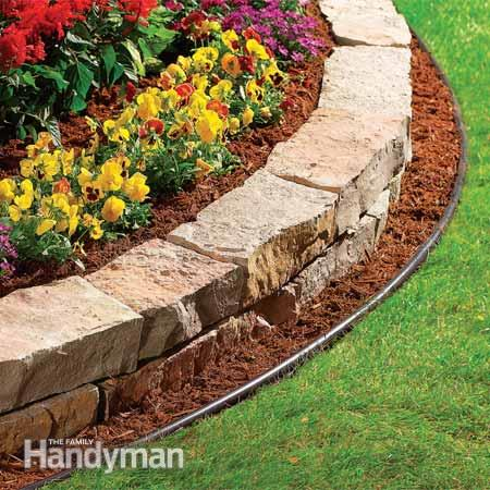 Double Garden Edging Idea using rock bricks featured on Remodelaholic.com