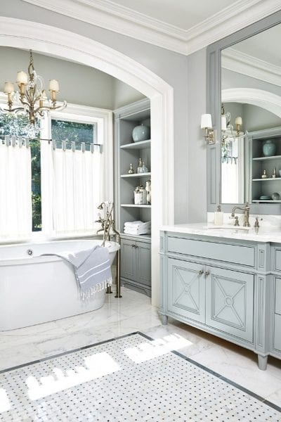 Remodelaholic Inspiring And Colorful Bathroom Vanities - Blue gray bathroom vanity