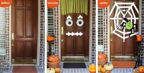 Cute Halloween Door Ideas with a monster or a spider