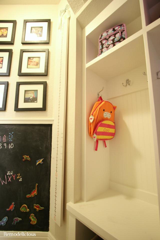 DIY Magnetic Chalkboard Wall With Instagram Family Photo Gallery & Mud Locker Cubby Cabinet