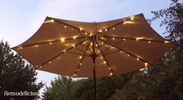 String Lights For Outdoor Umbrella : Patio Umbrella Solar LED Lights (Finally) Remodelicious
