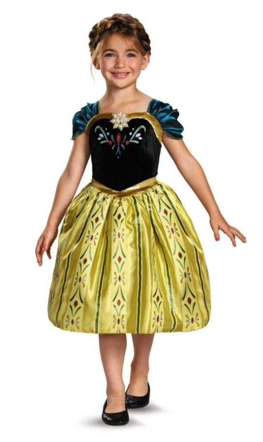 At under $25, this version with a solid skirt (the others have sheet skirts over a solid lining) from Amazon.com will make your wallet even more happy and your princess will still feel as royal as the princess of Arendale.