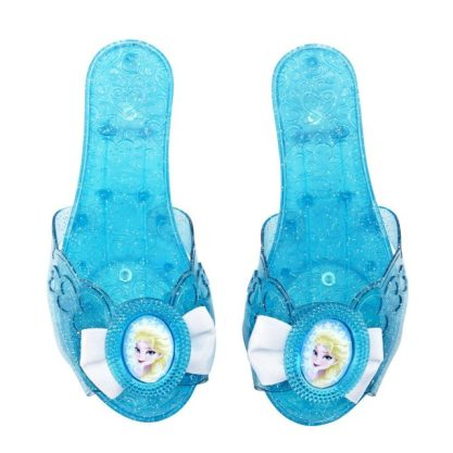 This costume version of Elsa's shoes are great for dress up since the open heel allows for a more forgiving fit (more years to play!) and shouldn't give the blisters that some have gotten from the Disney Store shoes.  Plus, at under $10 on Amazon.com, it's quick and convenient to make them your own.
