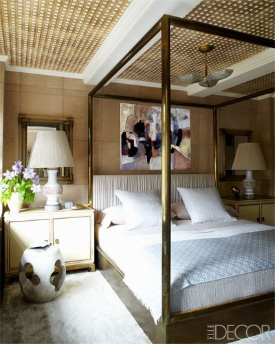Brass is fit for a queen in Cameron Diaz's bedroom.  via Elle Decor