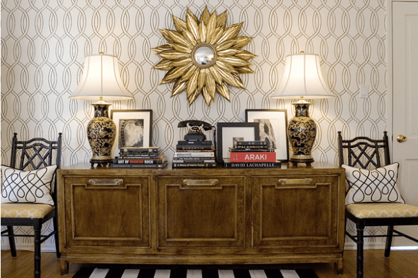 """Mid-century with a modern twist... mid-century modern revival has had a huge inspiration on the new """"Brass is Back"""" trent.  Via Amber Interiors"""