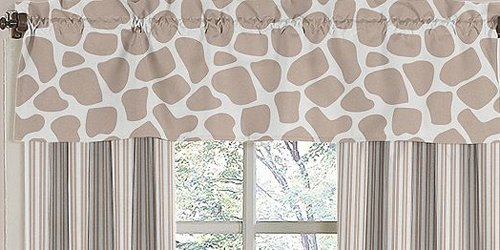 "The curtains in the inspiration room are custom, but these pre-made giraffe print curtains are simple and don't scream ""baby""."