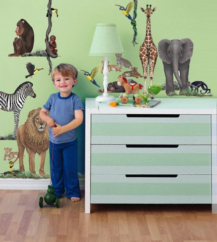"Peter's room above has gorgeous hand=painted animals adorning the walls.  For the same look on a budget, there are jungle & safari animal wall decals that are more life-like and less ""baby store"" that will last your kiddo into much older years."