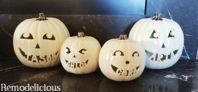DIY foam craft pumpkins carved with family names... where to get the supplies and how it's done.