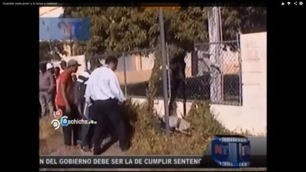 11 Video  Guachimán da cartuchazo a un tipo y lo tira en matorrales [RD]