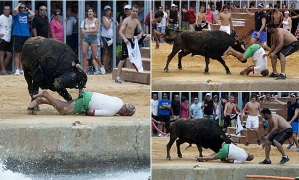 image69 Hombre recibe cornada en el trasero en corrida de toros en España