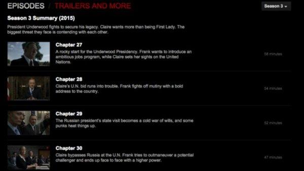 0012196238 Netflix estrena por error tercera temporada de House of Cards