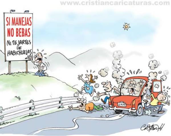 cr Si manejas no bebas, ni te jartes de habichuelas (Caricatura)