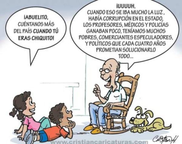 abuelito Abuelito, cuéntanos más del país cuando tu eras chiquito (caricatura)