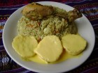 Pollo arroz y papas