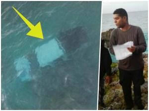 mar caribe camioneta Er' flu! – Este dominicano se salvó en tablita