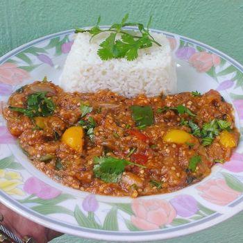 berengena Comida de las 12: Berenjena y arroz blanco