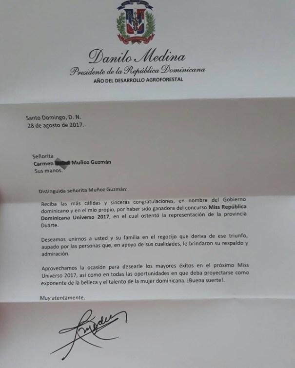 carta Miss RD Universo 2017 aclara sobre su nombre y revela carta de Danilo