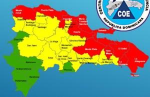 mapa 1 300x194 Ojo! – Alerta Roja pa' 11 provincias en RD