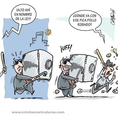 """cari 1 Caricatura: """"Persiguiendo el robo..."""""""