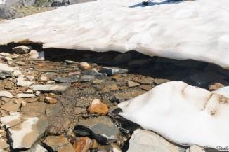 这些冰川并不厚,下面就是岩石,融化的冰水从下面流淌出来,形成各个小溪