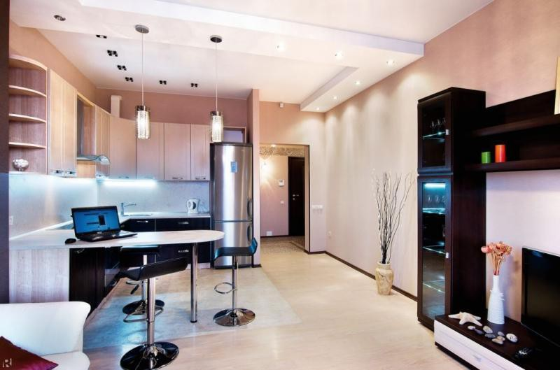 дизайн кухни студии совмещенной с гостиной 18 кв 2