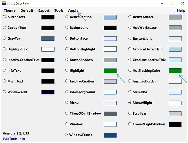 Изменение цвета выделения в Classic Color Panel