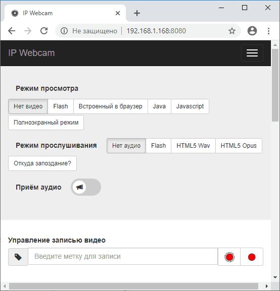 Страница управления IP Webcam