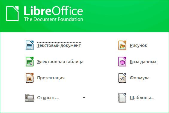 Меню офисного пакета LibreOffice