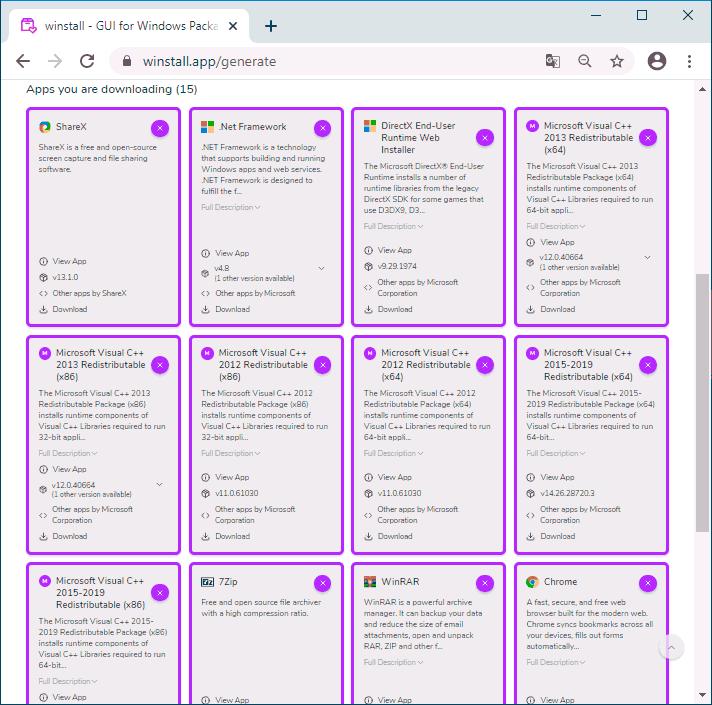 Установка набора программ в Winstall