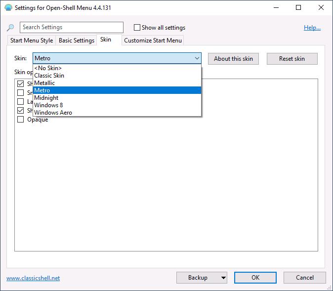 Выбор оформления меню Open Shell