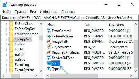 Параметры запуска службы в реестре Windows