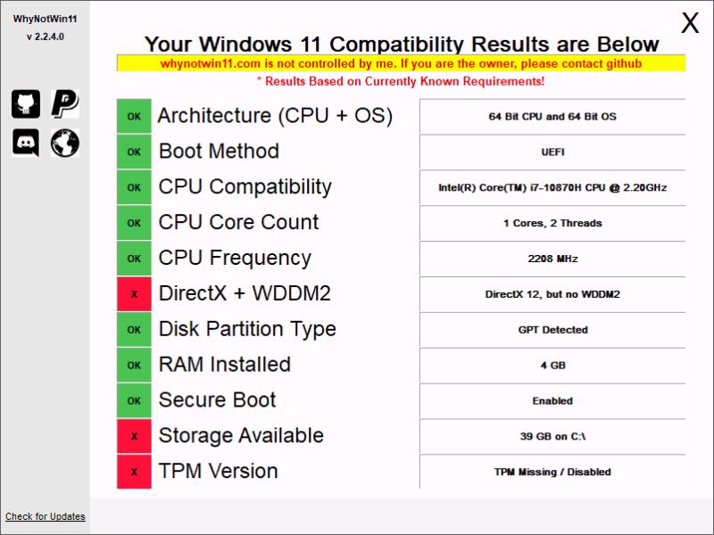 Результаты проверки системных требований в WhyNotWin11