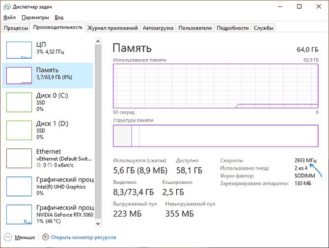 Частота памяти в диспетчере задач Windows 10