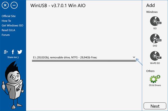 Главное окно программы WinUSB