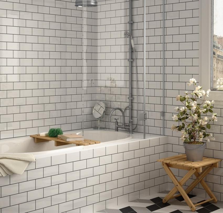 белая плитка в ванной комнате дизайн 2